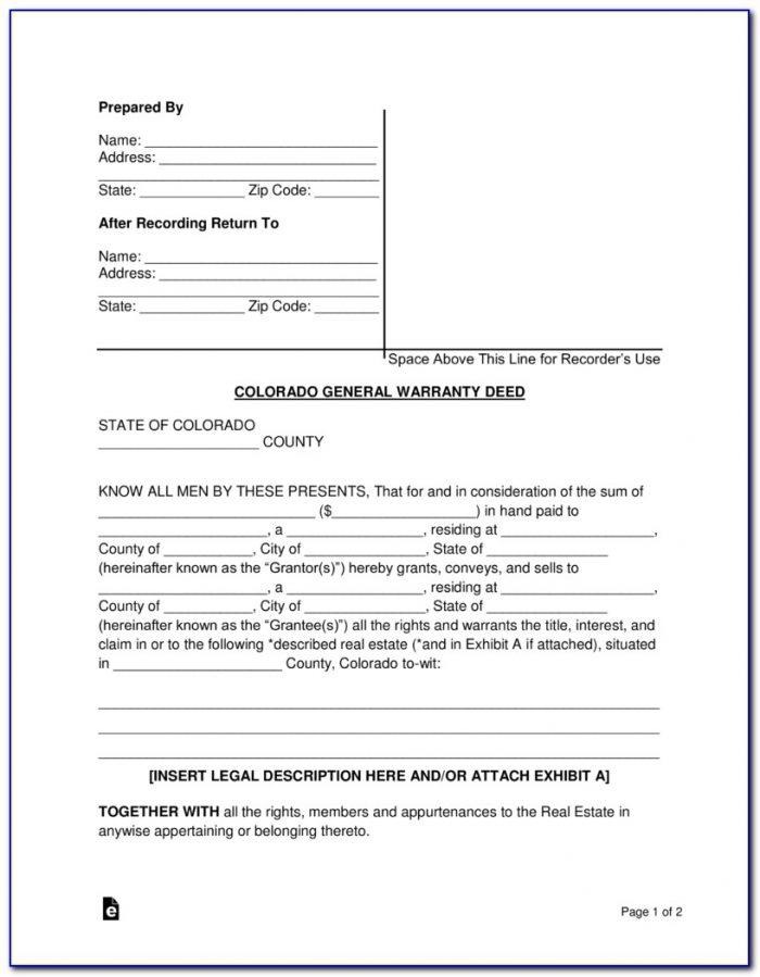 Quit Claim Deed Form Jefferson County Colorado