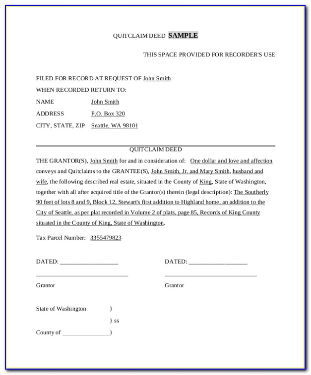 Quit Claim Deed Form Mesa County Colorado