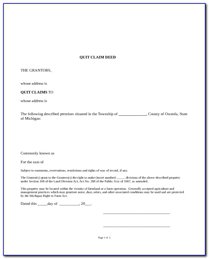 Quit Claim Deed Form Michigan Oakland County
