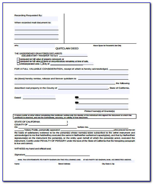 Quit Claim Deed Form Pdf Virginia