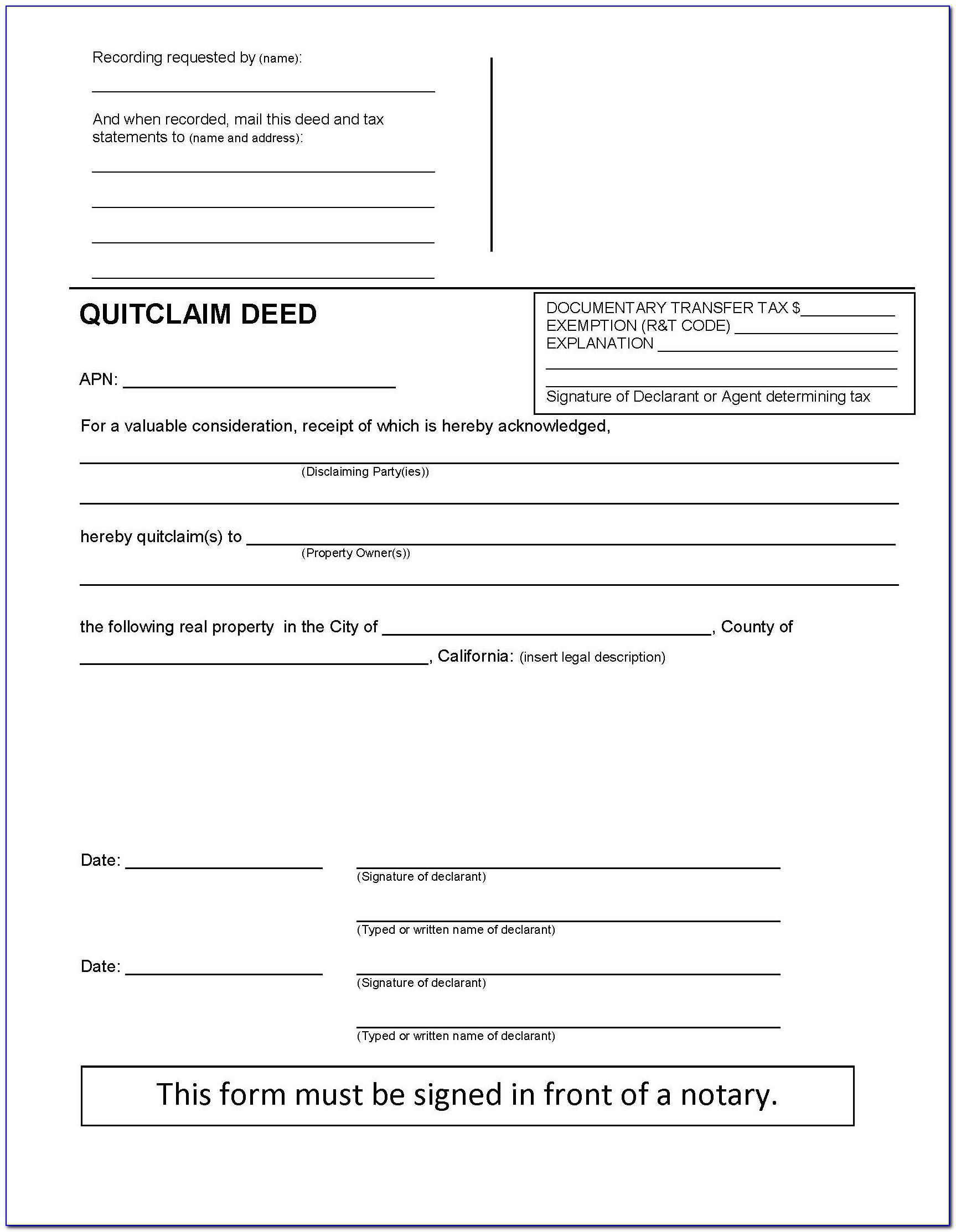 Quitclaim Deed Sample California
