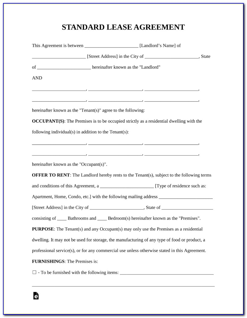 Renters Lease Agreement Form