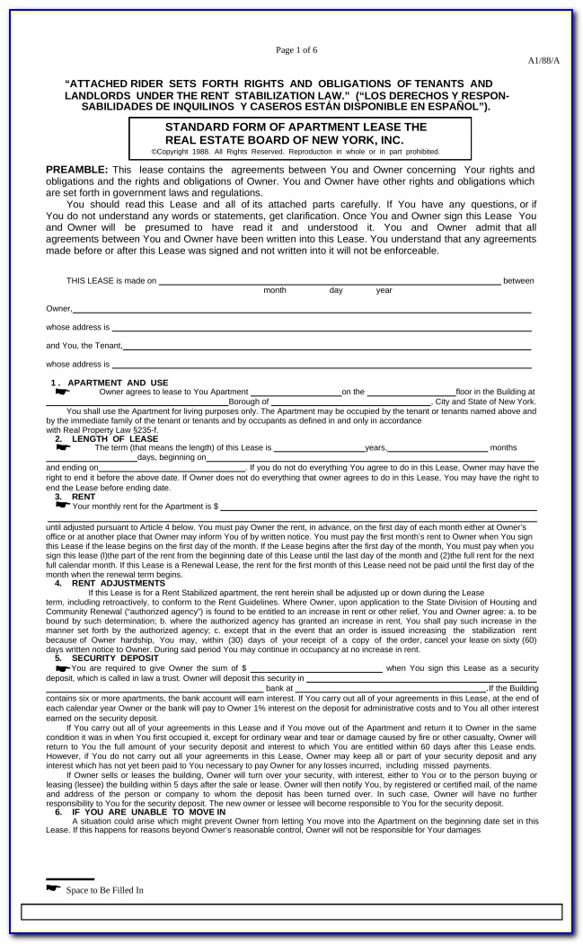 Residential Lease Form Pdf Nyc
