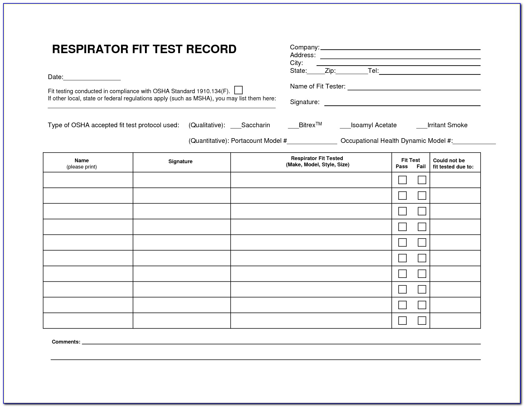 Respirator Fit Test Form Qualitative