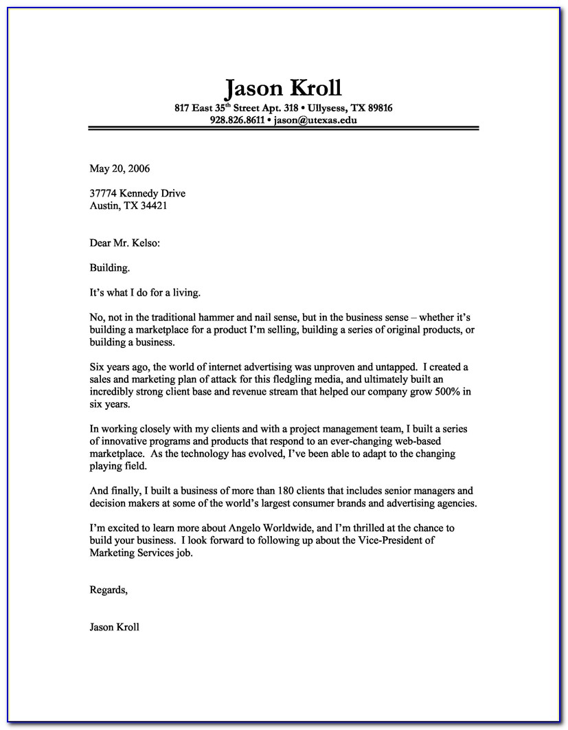 Resume Cover Letters Example