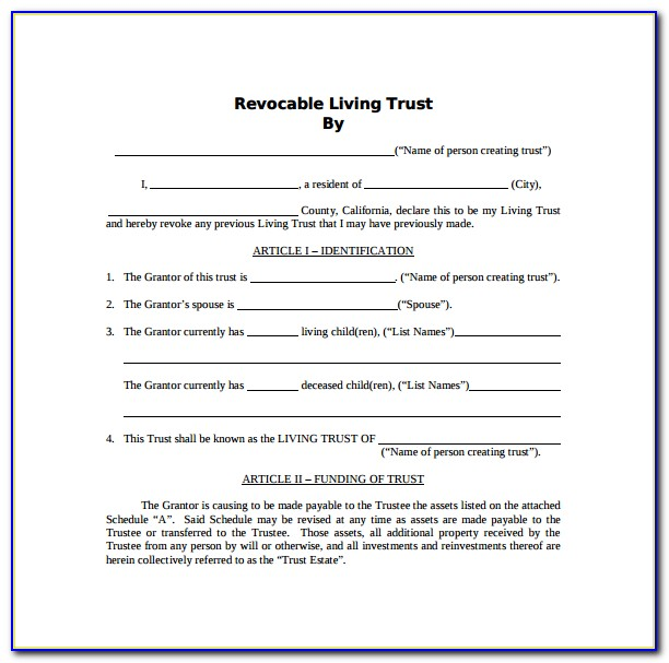 Revocable Living Trust Form Ny