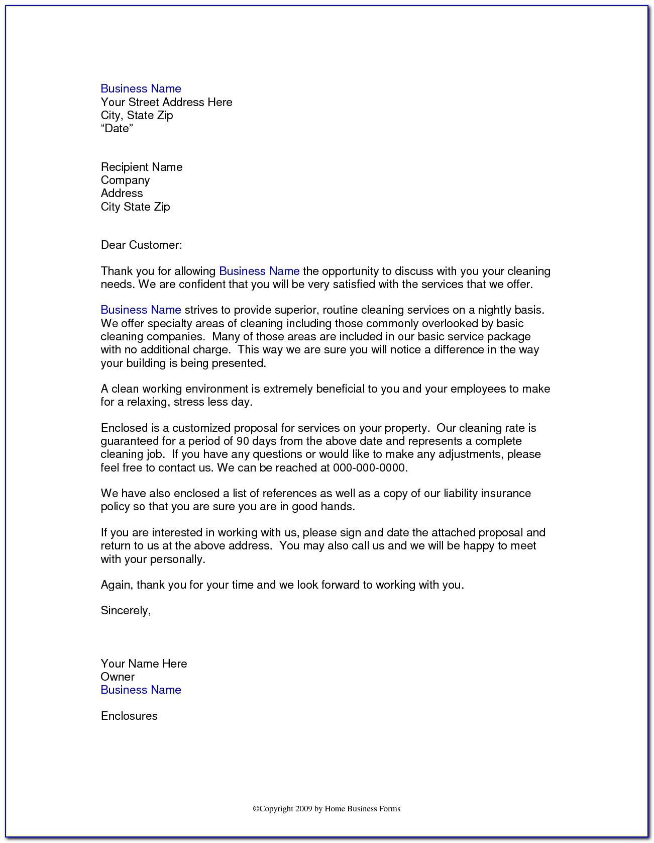 Sample Cover Letter For Tender Proposal