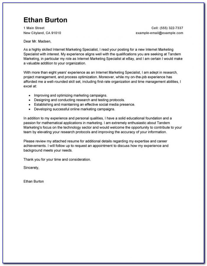 Sample Cover Letter Responding To Online Job Posting
