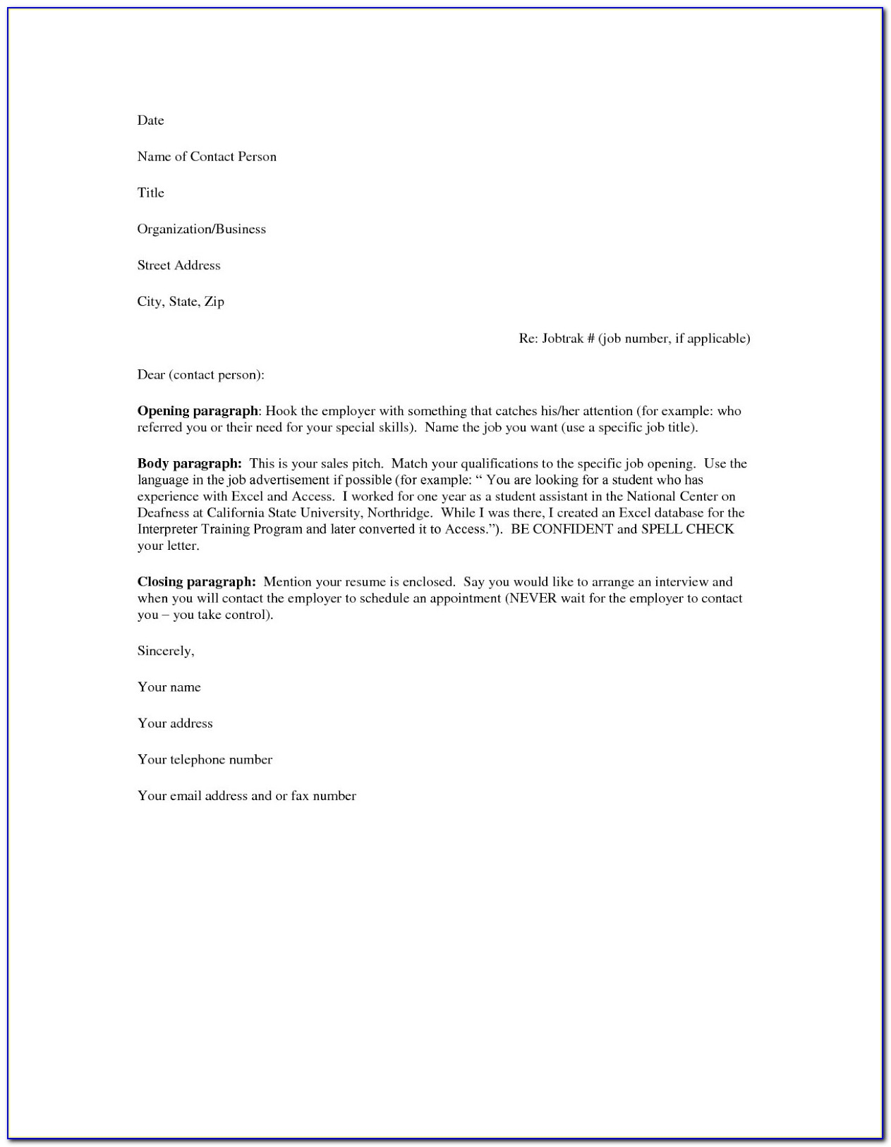 Sample Of Cover Letter For Resume