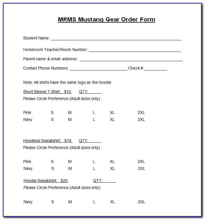 Sample T Shirt Order Form Template