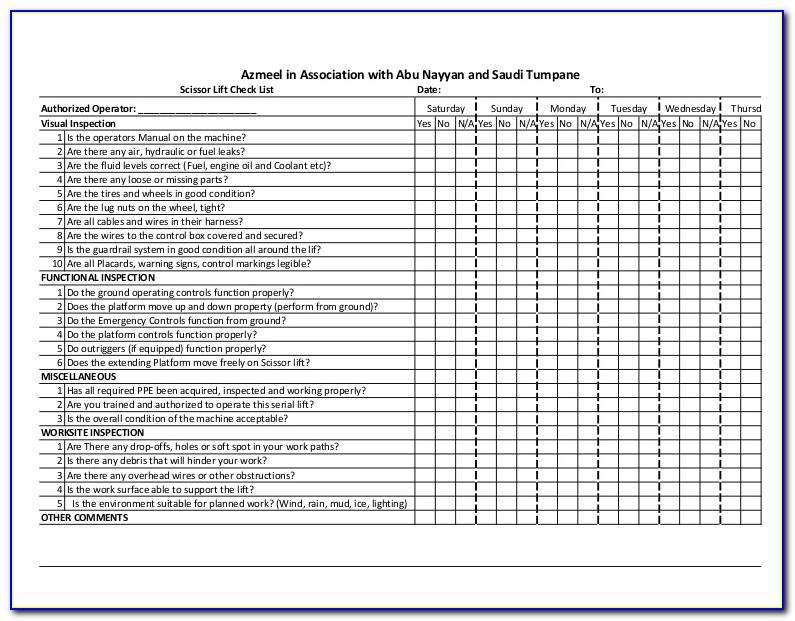 Scissor Lift Annual Inspection Form