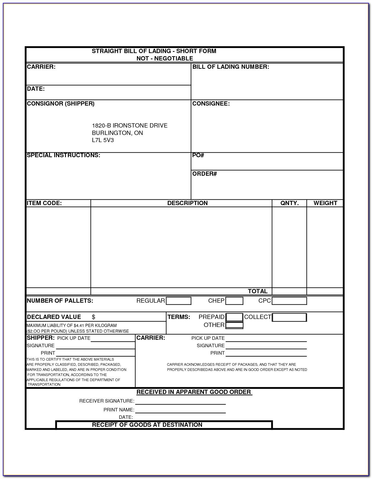 Short Form Bill Of Lading Example
