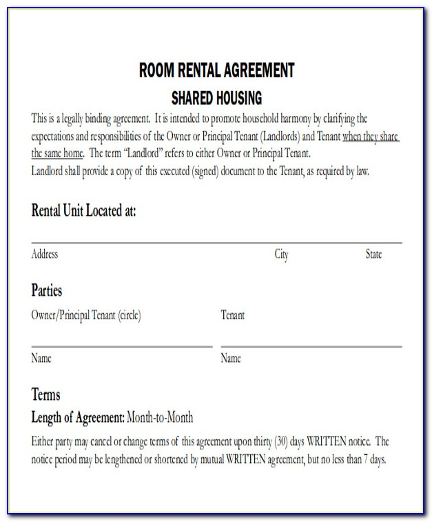 Simple Room Rental Agreement Form Free