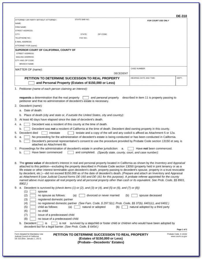 Small Estate Affidavit California 2012 Form