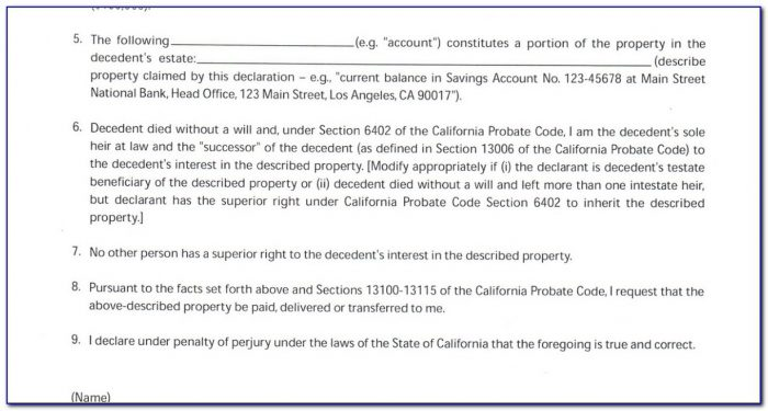Small Estate Affidavit Form California 2016