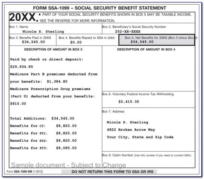 Social Security 1099 Form Pdf