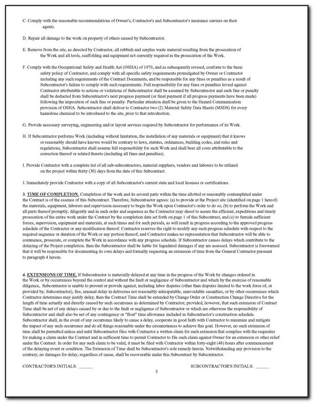 Standard Form Of Agreement Between Contractor And Subcontractor Doc