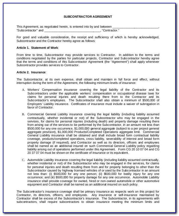 Standard Form Of Agreement Between Contractor And Subcontractor