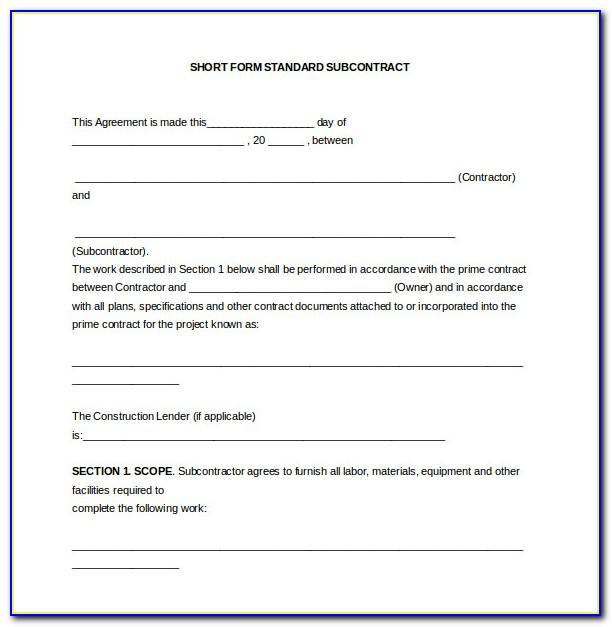 Standard Form Of Agreement Between Contractor Subcontractor 2007