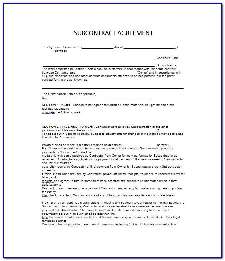 Standard Short Form Agreement Between Contractor And Subcontractor