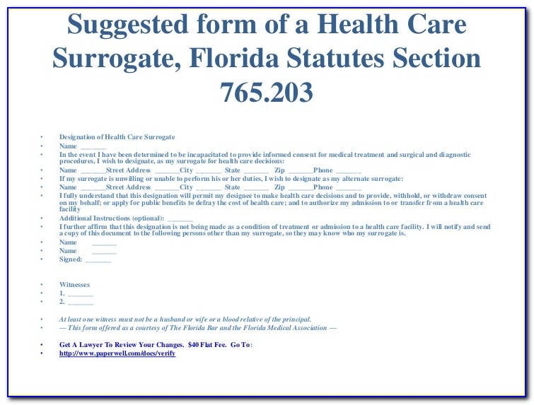 State Of Florida Health Care Surrogate Form