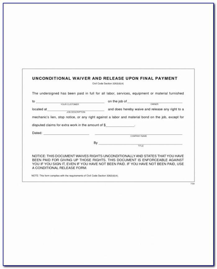 Lien Release Form New Form Standard Lien Waiver Form