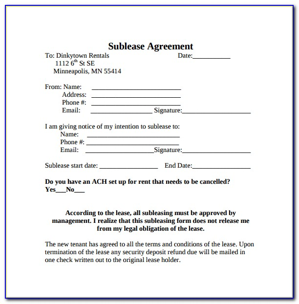 Sublease Agreement Form Bc