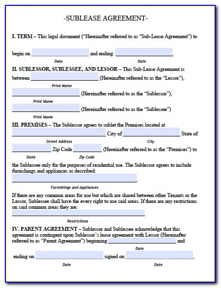 Sublease Agreement Forms
