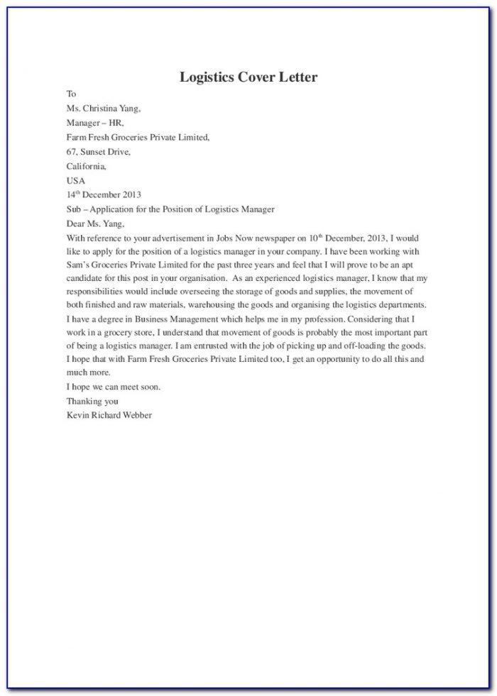 Supply Chain Planner Cover Letter Sample