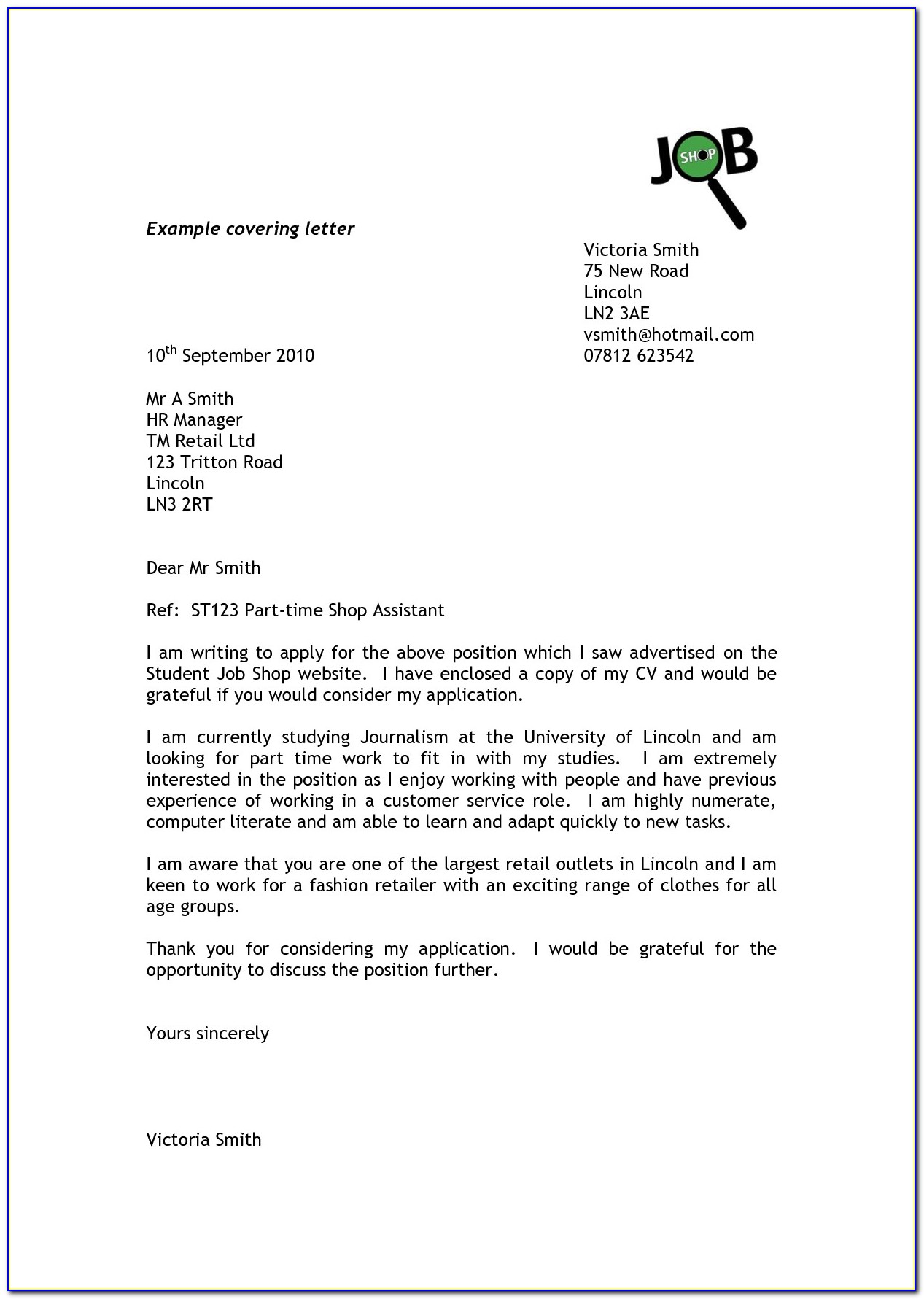 Template Cover Letter For Job Application Uk