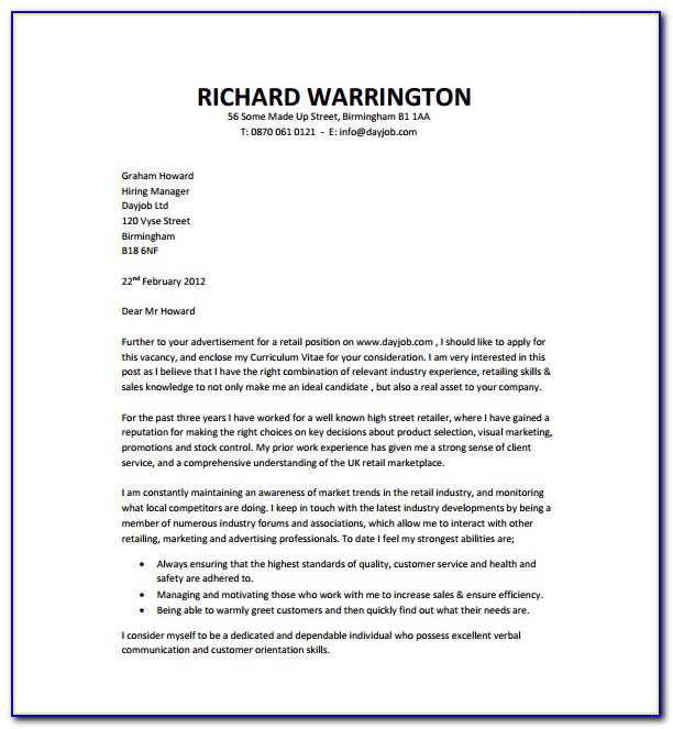 Template For Cover Letter Microsoft Word