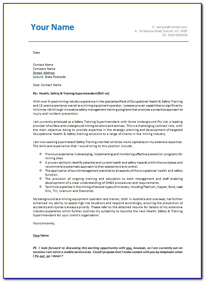 Templates For Cover Letters For Jobs