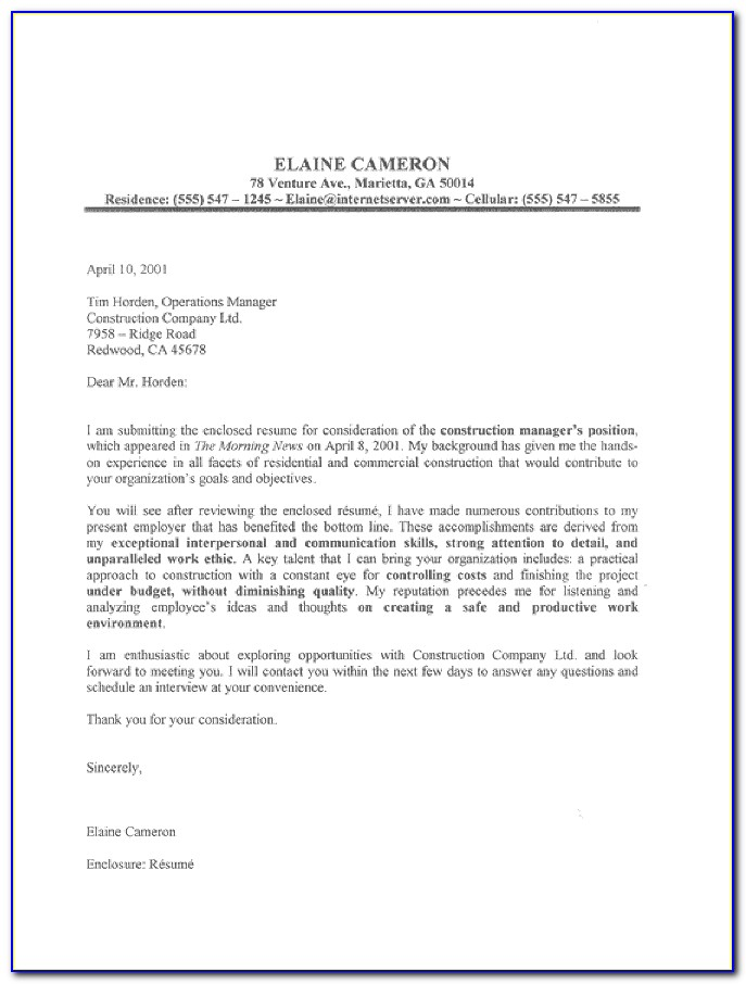 Templates For Cover Letters For Resumes