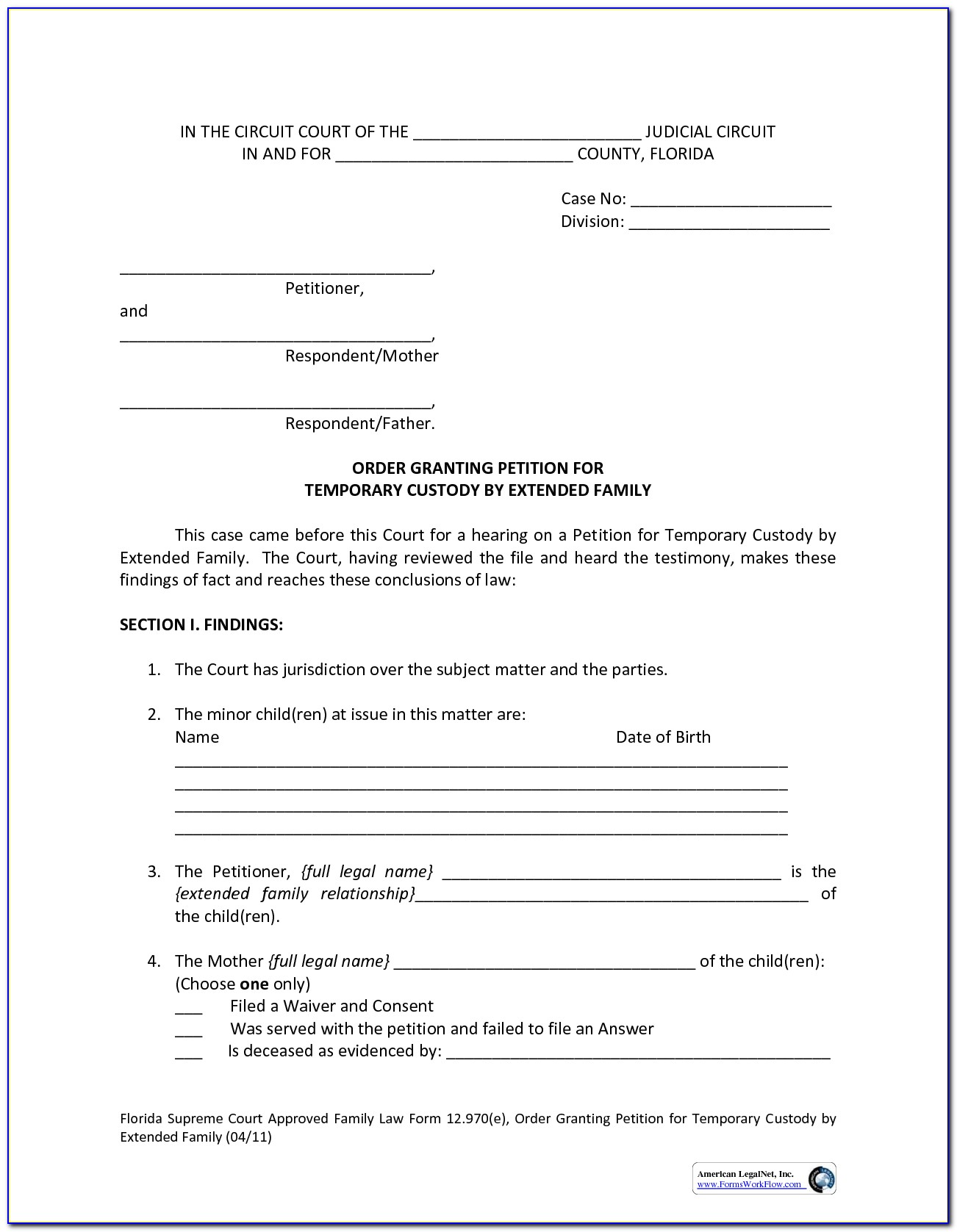 Temporary Child Custody Form California