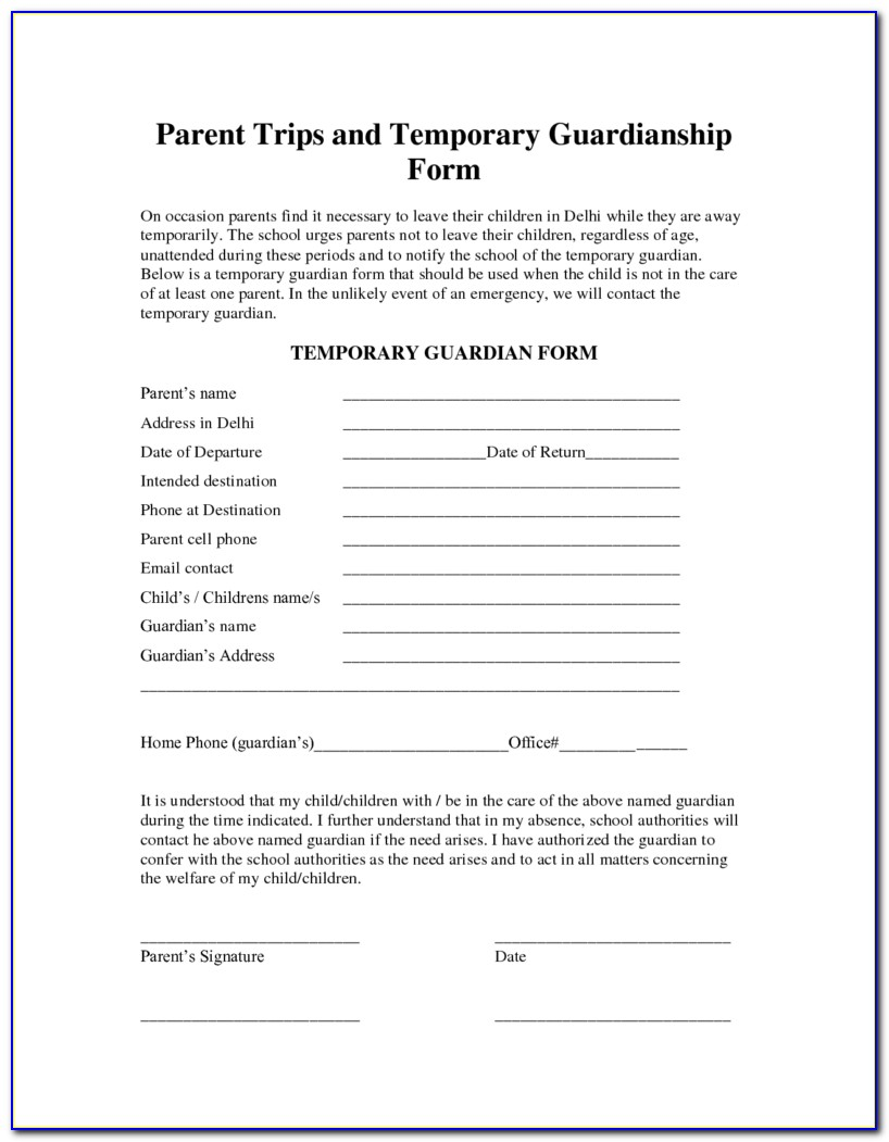 Temporary Custody Form For Grandparents