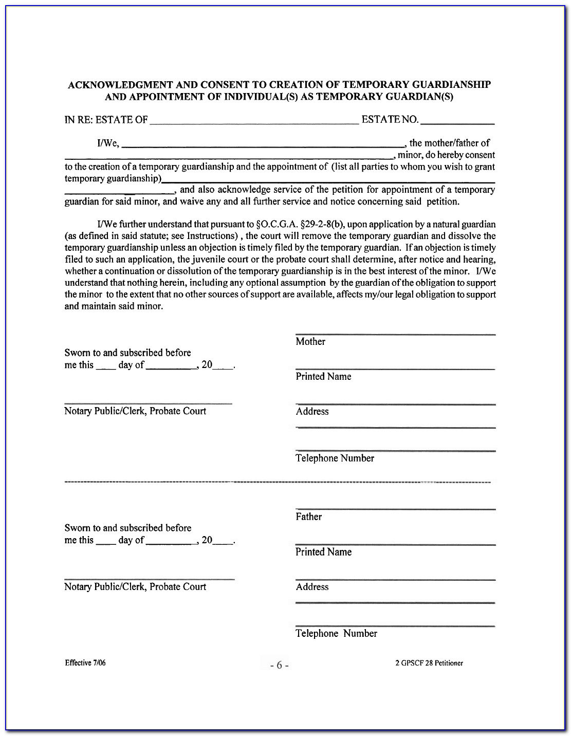 Temporary Guardianship Agreement Form Georgia
