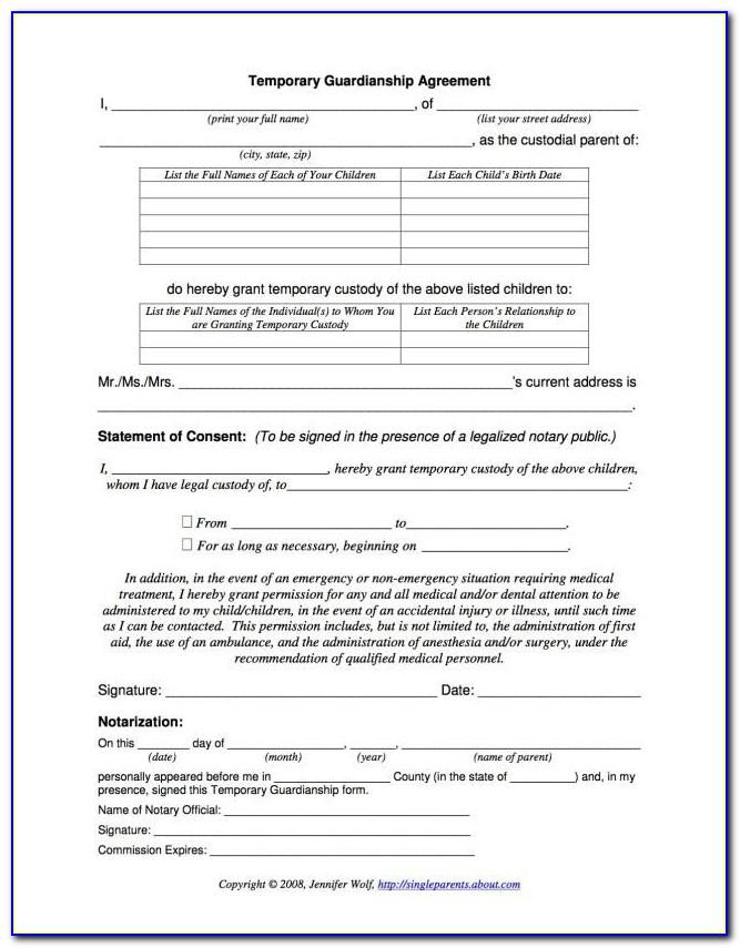 Temporary Guardianship Form For Grandparents Pdf