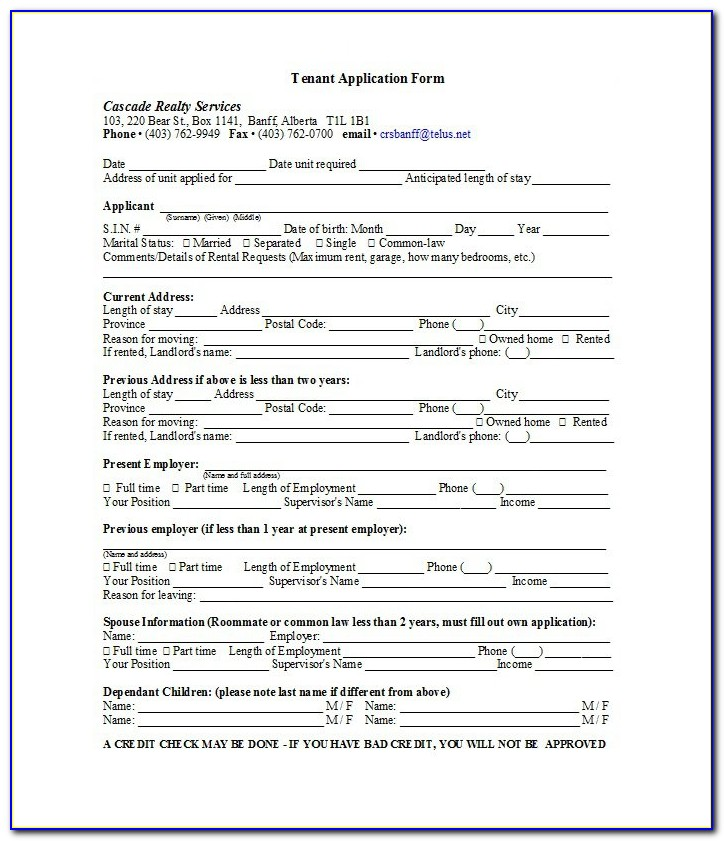 Tenancy Application Form Template