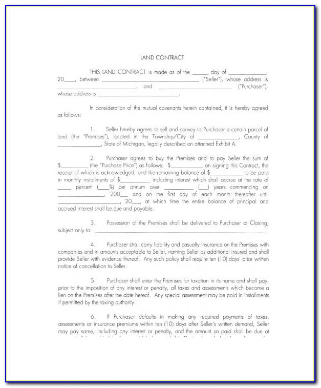 Termination Of Land Contract Form Michigan