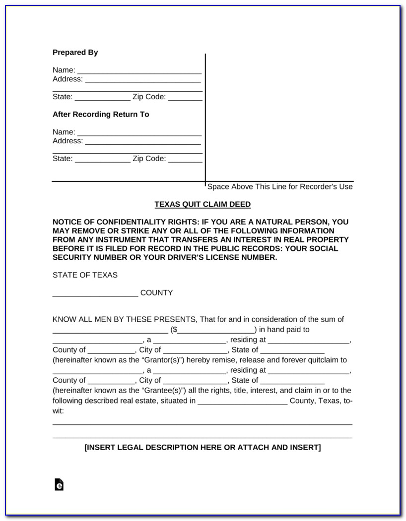 Texas Deed Without Warranty Form Free