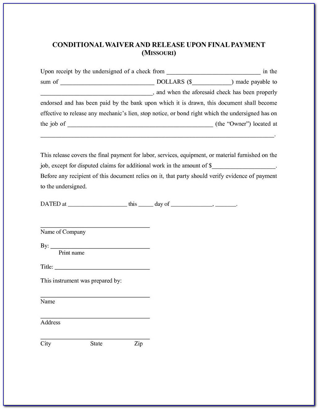 Texas Mechanics Lien Release Form