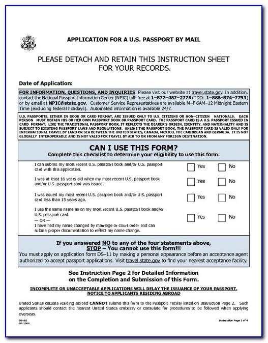 Travel State Gov Passport Forms Ds 82