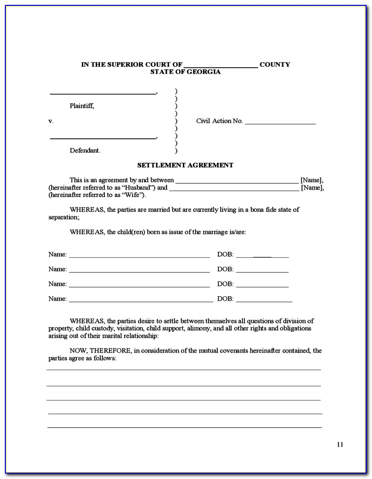 Uncontested Divorce Forms In Ga