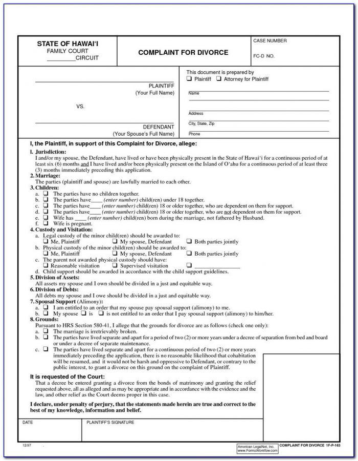 Uncontested Divorce Forms Nys