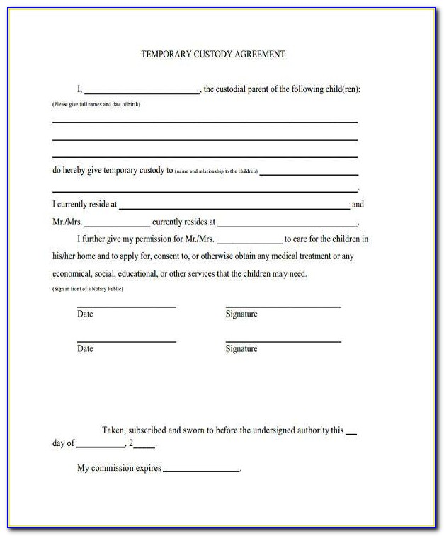 Voluntary Child Custody Agreement Form Ontario