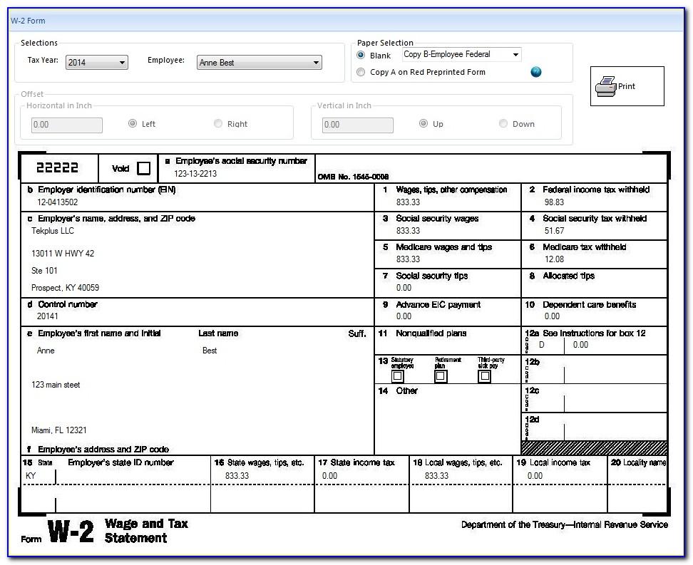 W2 New Employee Form
