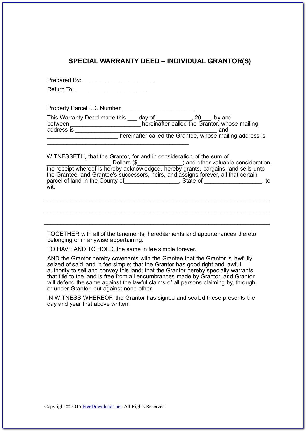 Warranty Deed Template Pdf