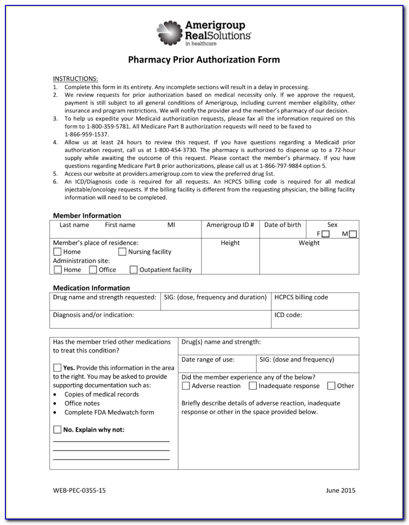Wellcare Medicare Medication Prior Authorization Form