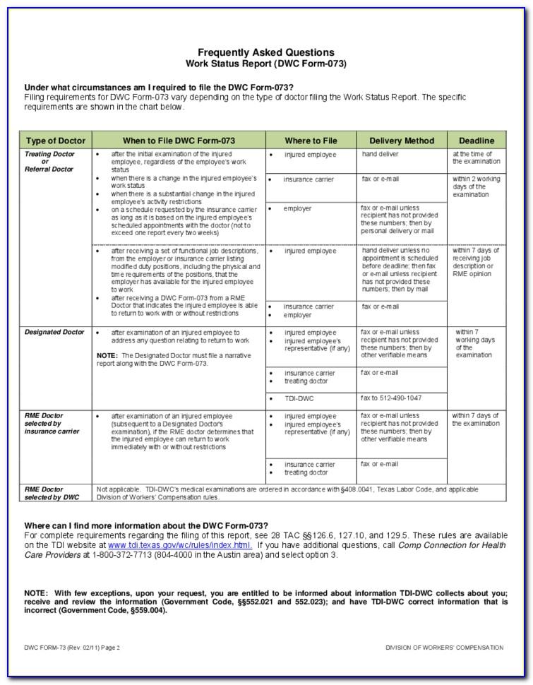 Workmans Comp Form 18