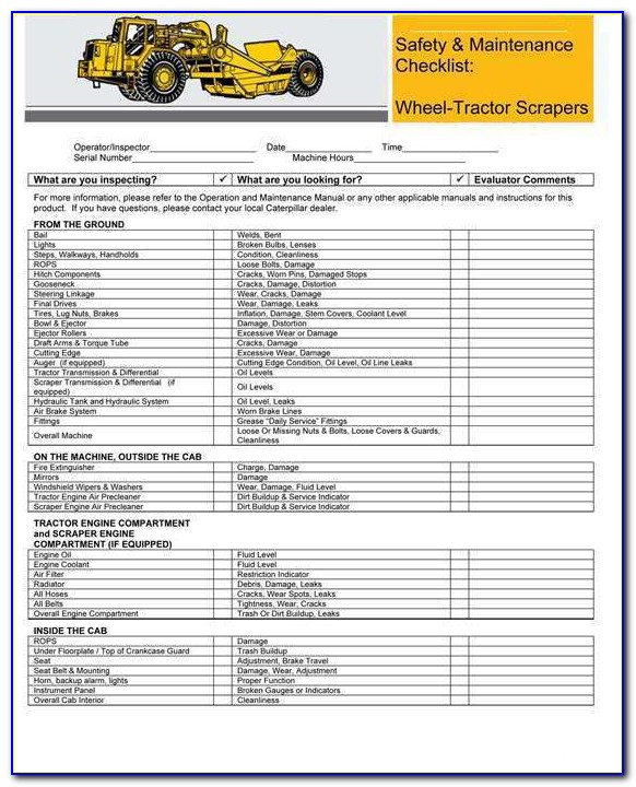 90 Day Tractor Inspection Form